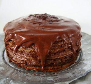 Блинный торт с шоколадом на Масленицу