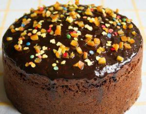 шоколадный кулич с темной глазурью
